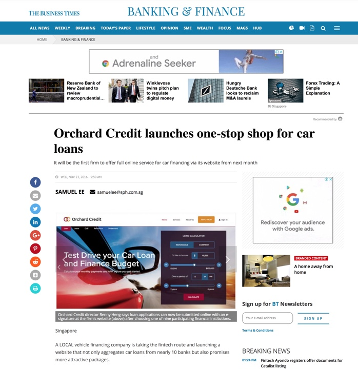 Orchard Credit Singapore Business Times